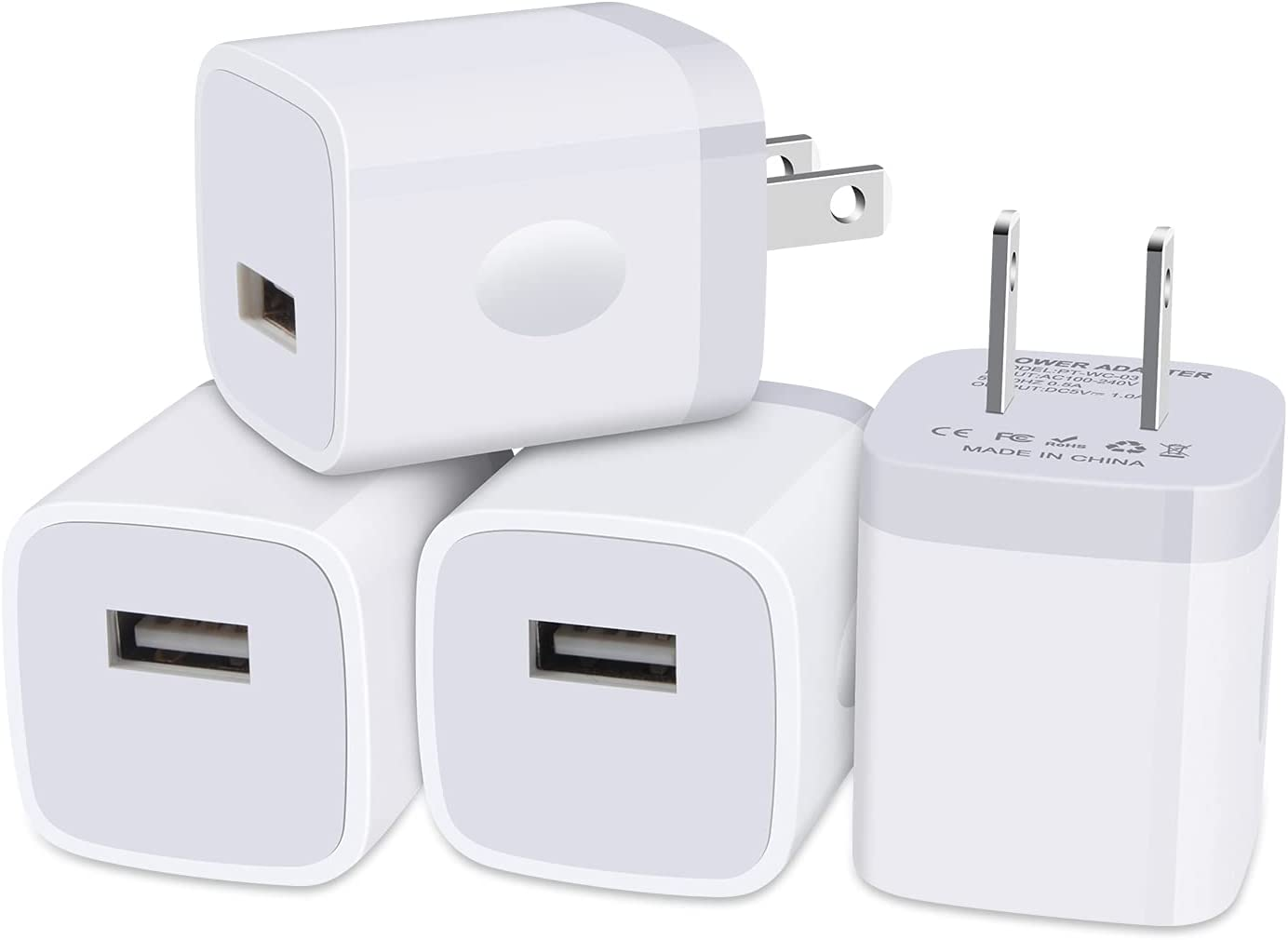 iPhone Charger Block, Plug in Phone Charger, Sicodo 4Pack Single Port USB Wall Charger Fast Charging Adapter Cube Box for iPhone 12 SE(2020) 11/11pro/XS/XS Max/XR/X, Samsung Galaxy S21/S20+/10, LG