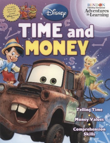 Disney & Pixar Film Characters Adventures in Learning Time & Money 32 Page Workbook Learn How to Tell Time and Count Money by Disney by Bendon Publishing International - Learn How To Count Money