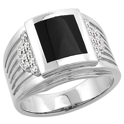 (Sterling Silver Black Onyx Ring for Men Rectangular Fluted Sides CZ Accent 5/8 inch size 14)