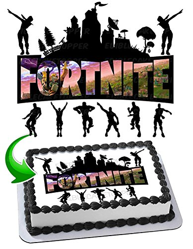 Price comparison product image Fortnite Battle Royale Edible Cake Topper Personalized Birthday 1 / 2 Size Sheet Decoration Party Birthday Sugar Frosting Transfer Fondant Image