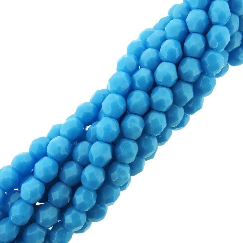 50 4mm Czech Glass Firepolish Beads Opaque Blue