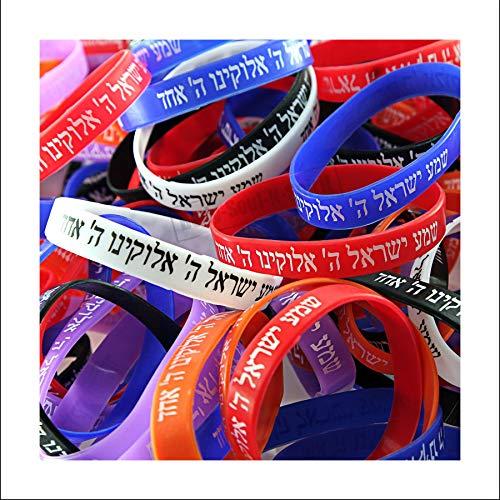 Punk Rubber Bracelets - 25 SHEMA ISRAEL Mix Bracelets Jewish Kabbalah Hebrew Rubber Cuff Wristbands LOT