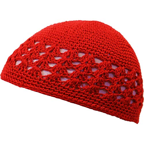 (SSK Knit Kufi Hat - Koopy Cap - Crochet Beanie (Red))