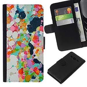 KLONGSHOP // Tirón de la caja Cartera de cuero con ranuras para tarjetas - Pintura al óleo abstracta Spots primavera colorido - Samsung Galaxy A3 //