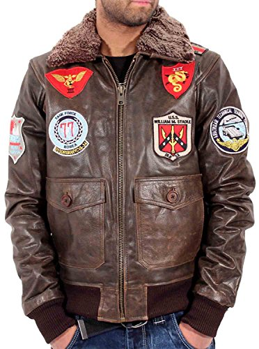 Aviatrix Herren Jungen US Pilot Fliegend Antique Vintage Leder Bomber Jacke Air Force