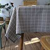kitchen tablecloths - ColorBird Check Plaid Tablecloth Waterproof Cotton Linen Table Cover for Kitchen Dinning Tabletop Decoration (Rectangle/Oblong, 55 x 70 Inch, Gray)