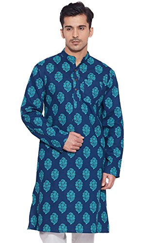 Men Full Sleeve Designer Cotton Long Kurta Casual Wear Printed Kurta Dark Blue