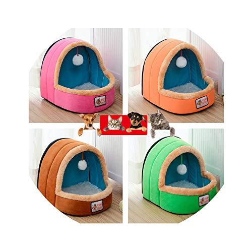 (ZZmeet New Mongolian Kennel Cat Litter Puppy Pet Dog Cats Comfortable Lying Mats Bed Supplies Animals Hanging Ball Small Pet House,Pink,S)