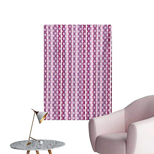 Anzhutwelve Purple Photographic Wallpaper Barcode Style Vertical Stripes Background with White Polka Dots European MotifsMulticolor W32 xL48 Space Poster -