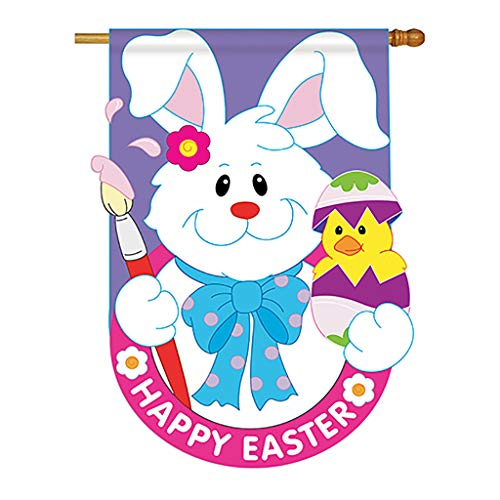 (Two Group - Bunny with Chick Spring - Seasonal Applique Decorative Vertical House Flag 28