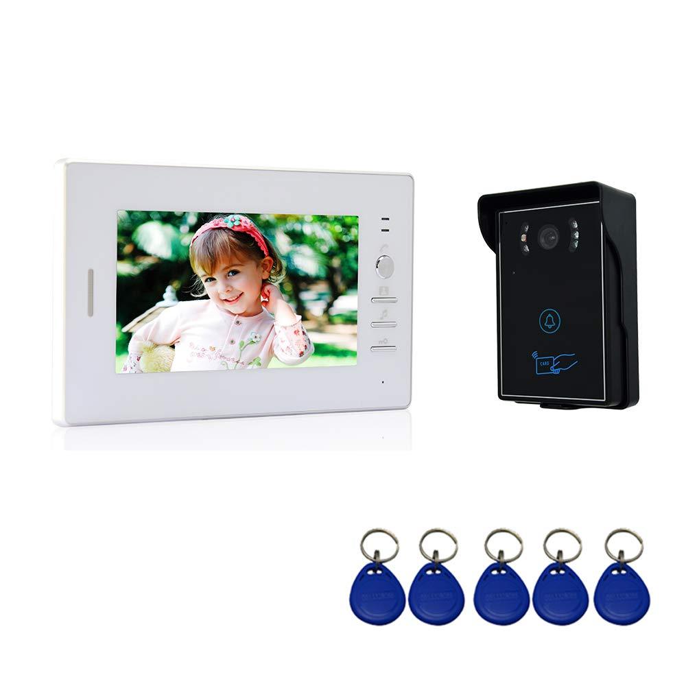 Interfono Portero Autom/ático 1 Monitor TFT LCD a color de 7 pulgadas, 1 C/ámara infrarroja exterior de Metal Impermeable con Visi/ón Nocturna Nudito Kit Videoportero Universal para vivienda