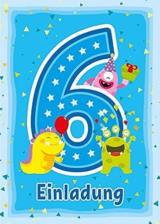 12 Einladungskarten Zum 6 Kindergeburtstag Blau Einladungen Zum