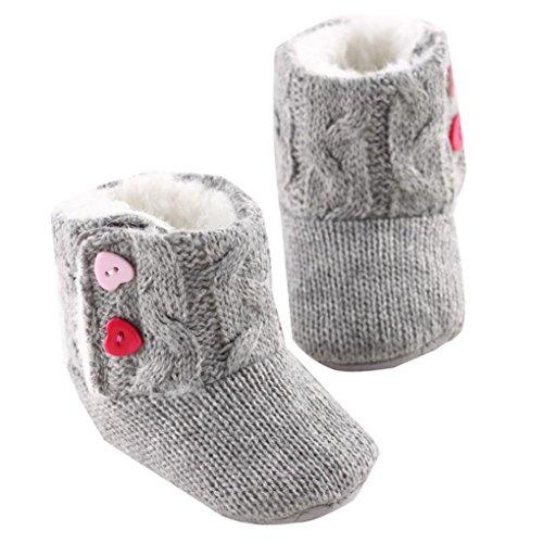 WOCACHI Baby-Mädchen-Winter-weiche Sohle Krippe Warm-Knopf Wohnungen Cotton Stiefel Kleinkind Prewalker Schuhe Krabbelschuhe (13, Grau)