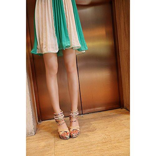 Bohemia Multicolor con Cuentas Sandalias Cuña Plataforma Etnicas Verano Playa Zapatos de Tacón Alto Mujer Albaricoque