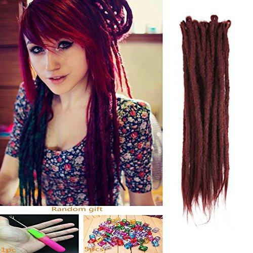 DSOAR Synthetic 20 Inch 12 Strands Handmade Dreadlocks Extensions Twist Braiding Hair Crochet Braids (Burgundy Color)