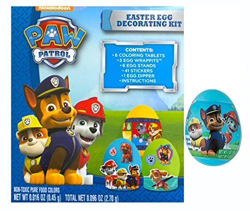 Paw Patrol Easter Egg Decorating Kit & Egg Filled with Candy & Stickers Zuma Chocolate