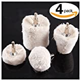 #8: Swpeet 4 Pcs White Cotton Polishing Buff Wheel Set for Dremel Rotay Tools, Polishing Pad Wheel Set Perfect for Manifold, Aluminum, Stainless Steel and Chrome ( Cone / Column / Mushroom / T-Shaped )