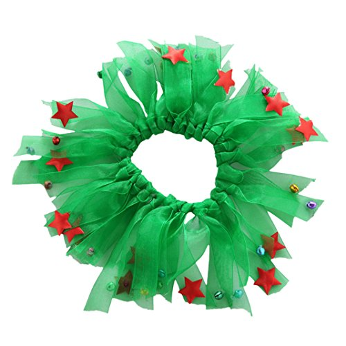 Pet Christmas Collar Dog Ribbon (Alamana Pet Cat Dog Christmas Decorative Collar with Bell Wreath Party Holiday Costume size S (Green))