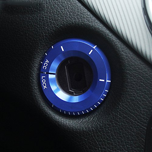 Angelguoguo Aluminium Alloy Car Ignition Startup Switch Decoration Ring Cover Sticker for Mercedes Benz GLK/GLA/CLA/2015-2016 C Class (Blue)