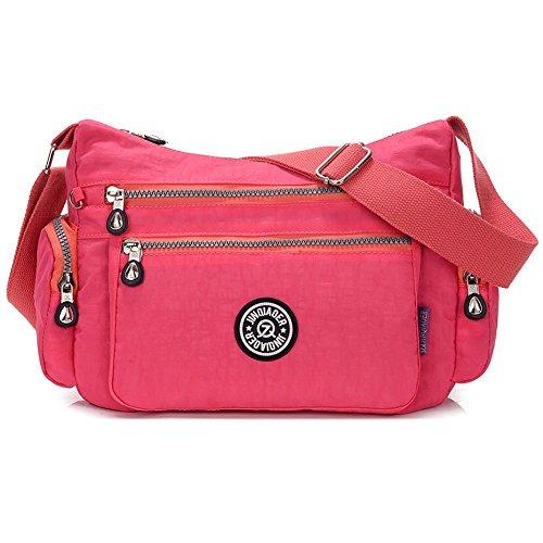 Bolso de mujer SUZone, de nailon, bolso bandolera Bolso de día, deportes, ocio bolso de hombro, mujer, Rosa roja rojo