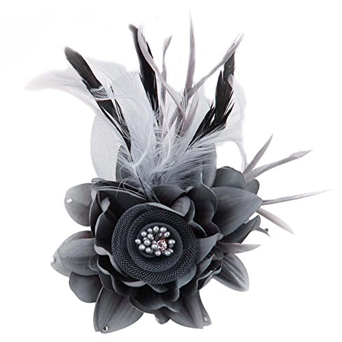ACTLATI Charming Mesh Feather Hair Clip Women Girls Hairpin Cocktail Party Flower Barrette Fascinator Hat Grey by ACTLATI