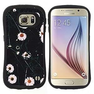 "Hypernova Slim Fit Dual Barniz Protector Caso Case Funda Para Samsung Galaxy S6 [Flores blancas naturaleza Campo""]"