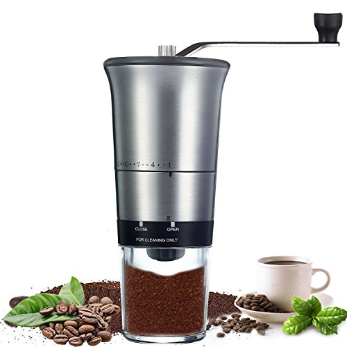 QcoQce Manual Coffee Grinder - Adjustable Hand Grinder - Ceramic Conical Burr Mill - Mini Portable Home Kitchen Travel Coffee Bean Grinder / Coffee Mill - Perfect Gift for Every Coffee Lover