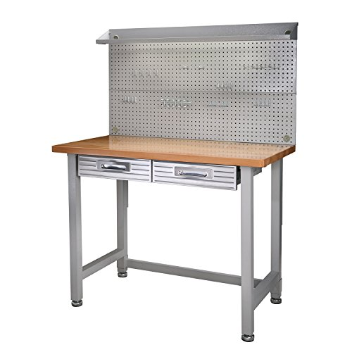 Seville Classics (UHD20247B) UltraHD Lighted Workbench (48L x 24W x 65.5H Inches) Stainless Steel