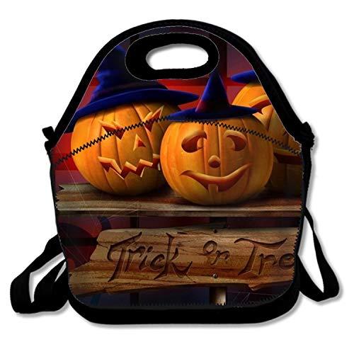 Halloween Pumpkin Hats Lunch Bags Insulated Zip Cooler Bag Portable Lunch Box