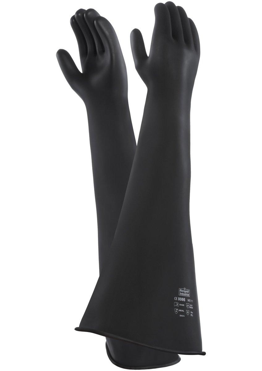 Chemikalien- und Fl/üssigkeitsschutz Gr/ö/ße 9.5 Ansell Emperor ME111 Reinf Naturgummilatex Handschuh 1 Paar pro Beutel Schwarz