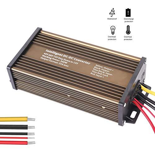 Pro Chaser DC-DC 48V 60V 72V Step Down to 12V Voltage Reducer Converter Regulator 300W 25A for Golf Cart Lights Horn Turn Signals Radio