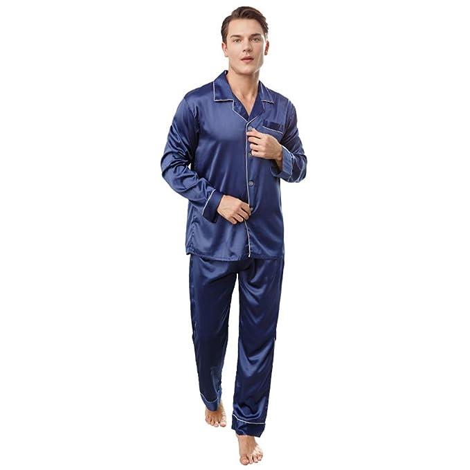 Pijama De Seda Clásico De Los Hombres del Estilo del Otoño De La Manga Larga Pantalones De Color Sólido Conjunto De Ropa De Dormir De Gran Tamaño: ...