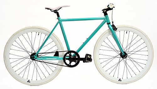 Retrospec Bicycles Mantra Fixie Bicycle with Sealed Bearing Hubs and Headlamp, Turquoise/White, 57cm/Large