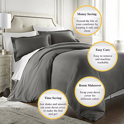 """Bed-Bucket Dark Gray Solid Over size Super King Duvet Cover 98""""x120"""" Inch Luxurious Hotel Collection 400 Thread Count 100% Natural cotton Hypoallergenic Decorative (Over size Super King,Dark Gray)"""