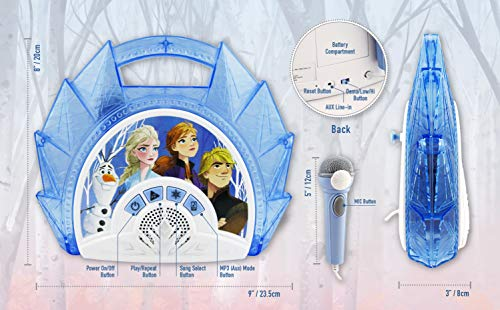 51fgo2Mw8CL - Frozen 2 Sing Along Boombox with Microphone, Built in Music, Flashing Lights, Real Working Mic for Kids Karaoke Machine, Connects Mp3 Player Aux in Audio Device
