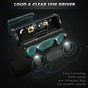 Bluetooth Speakers with 20-Hours Playtime, Best Portable Outdoor Speakers IPX4 Water-Resistant, Wireless Speaker with 10W Stereo Loud Sound and Bass for Echo Dot, iPhone, Samsung, Huawei, MacBook, PC