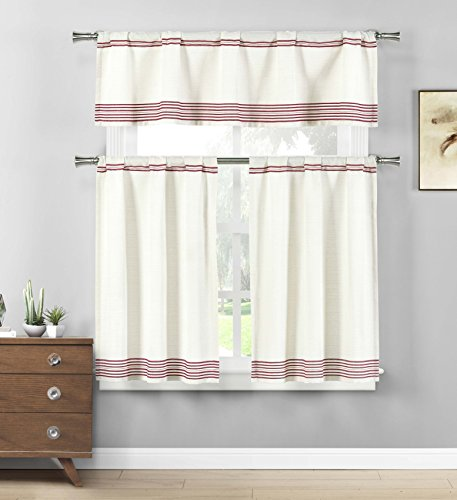 Home Maison Wilmont Striped Kitchen Window Curtain Tier & Valance Set, 2 29 x 36 | 1 58 x 15, Burgundy Red ()