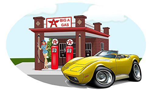 Classic Car 1973 Corvette Big A Gas Station Wall Decal Vinyl Mural YELLOW 12