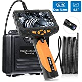 Teslong Inspection Camera, 1080p Dual Lens 4.5' Screen Endoscope with Toughened Glass, 16.4ft Waterproof Semi-Rigid Tube Borescope Industrial Endoscope, 2600mAh Battery (32GB TF Card)
