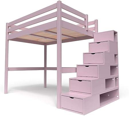 ABC MEUBLES - Cama Alta Sylvia con Escalera Cubo - Cube - Púrpura Pastel, 140x200: Amazon.es: Hogar