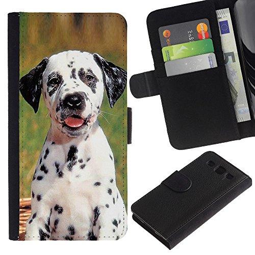 Billetera de Cuero Caso Titular de la tarjeta Carcasa Funda para Samsung Galaxy S3 III I9300 / Dalmatian Puppy Spots Dog Pet / STRONG