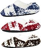J.ANN Adults 3-Pack Soft Sherpa Cozy Slipper Sock, Non-Slip Bottom. (Navy_Red_Coffee)