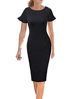 280f7549e47a VFSHOW Womens Ruffle Bell Sleeve Work Business Cocktail Party Sheath Dress