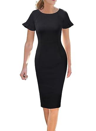 86c08eee VFSHOW Elegant Ruffle Flutter Sleeve Work Business Office Sheath Dress 503  BLK XS