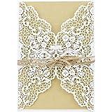 Shinejoy 20pcs Elegant Floral Laser Cut Wedding Invitations Cards for Birthday Party Baby Shower Bridal Shower Invitations (20, Floral-White)