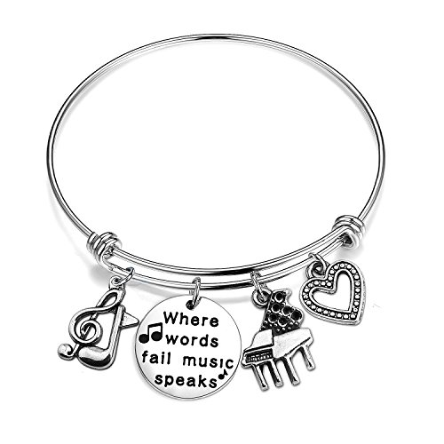 ENSIANTH Music Gift Where Words Fail Music Speaks Expandable Music Charm Bangle Music Lovers Jewelry (Music Bracelet)