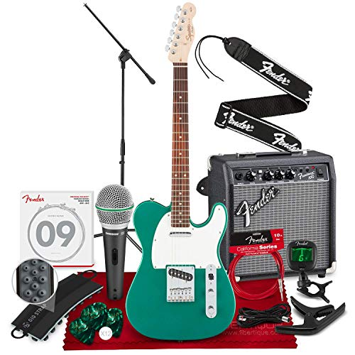Squier by Fender Affinity Series Telecaster Beginner Electric Guitar, Race Green with Microphone & Stand Bundle + Amp, Capo, Tuner, Strings, Picks & Complete Starters Pack