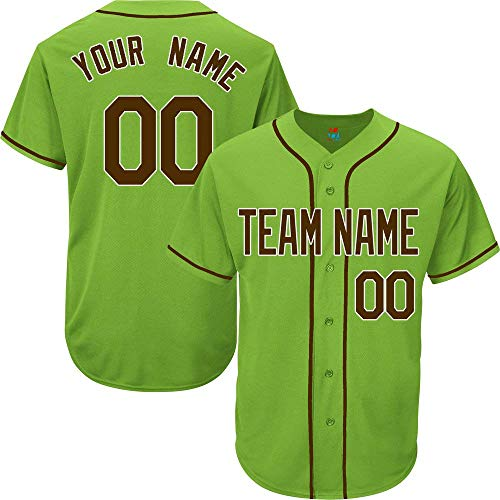 (Light Green Custom Baseball Jersey for Men Women Youth Replica Embroidered Team Name & Numbers S-5XL Brown White)