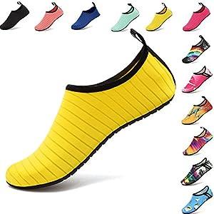 VIFUUR Water Sports Shoes Barefoot Quick-Dry Aqua Yoga Socks Slip-on Men Women Kids Yellow-44/45