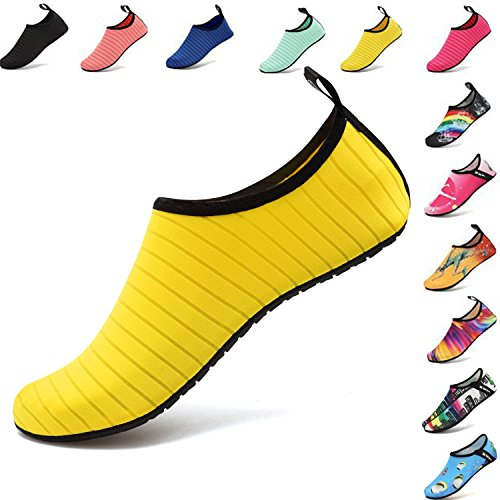 VIFUUR Water Sports Shoes Barefoot Quick-Dry Aqua Yoga Socks Slip-on for Men Women Kids Yellow-40/41